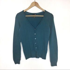 🦄 BOGO H&M teal blue button up cardigan